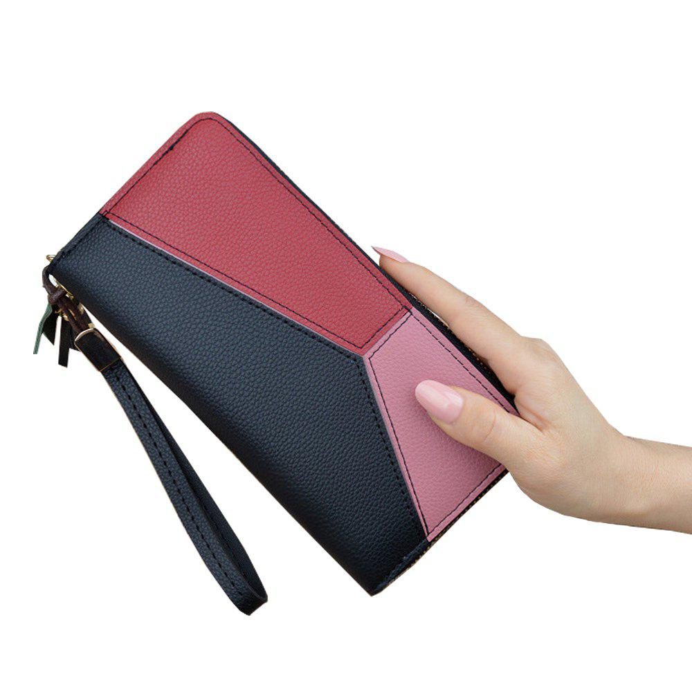 Fashion Ladies Long Zipper Fashion New Clutch Bag Stitching Contrast Color Large Wallet