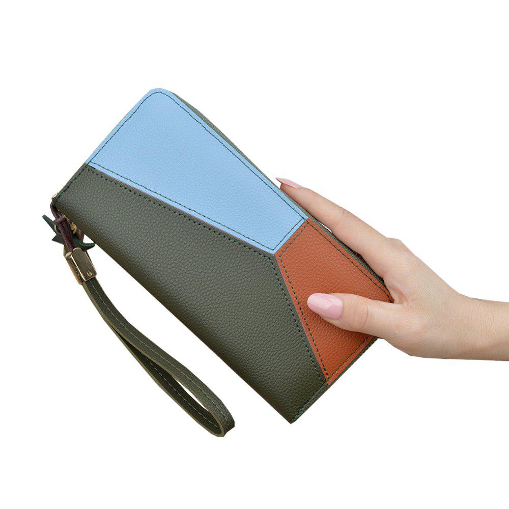Buy Ladies Long Zipper Fashion New Clutch Bag Stitching Contrast Color Large Wallet
