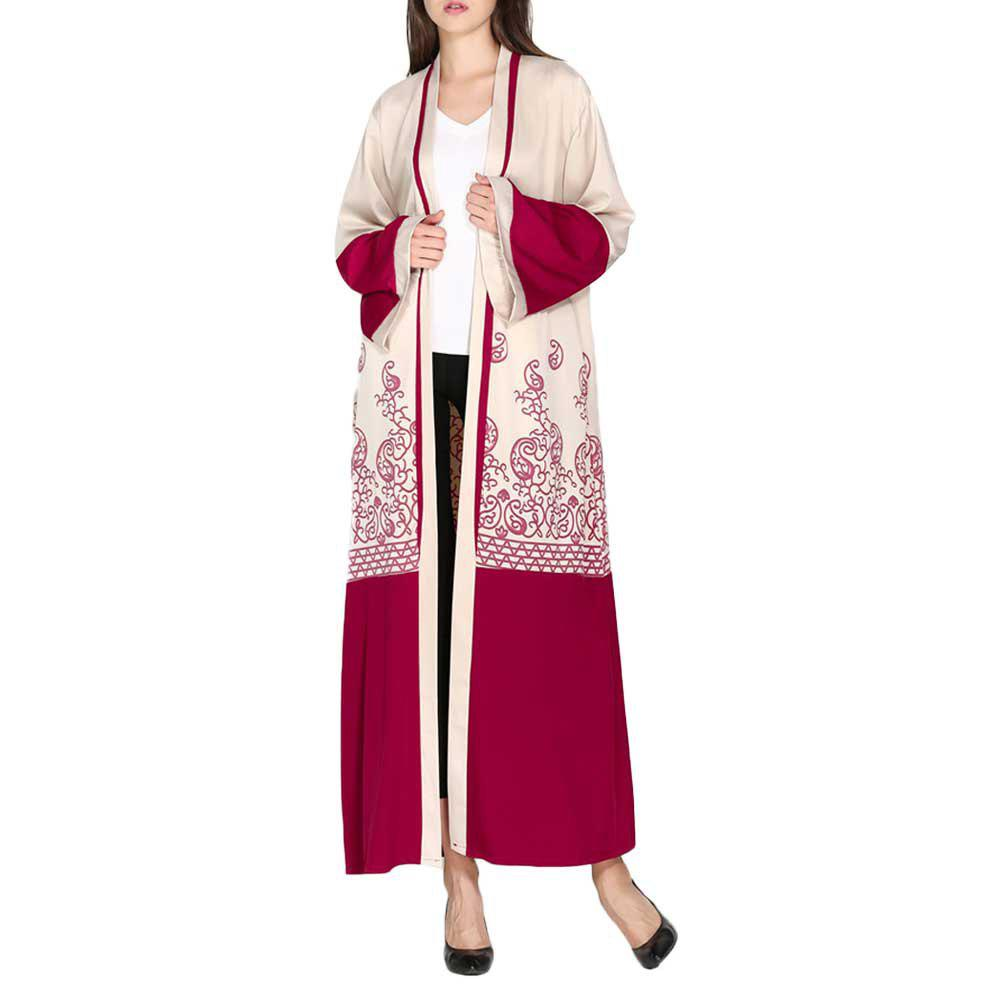Cheap Printed Red Cardigan Long Dress with A Slender Belt