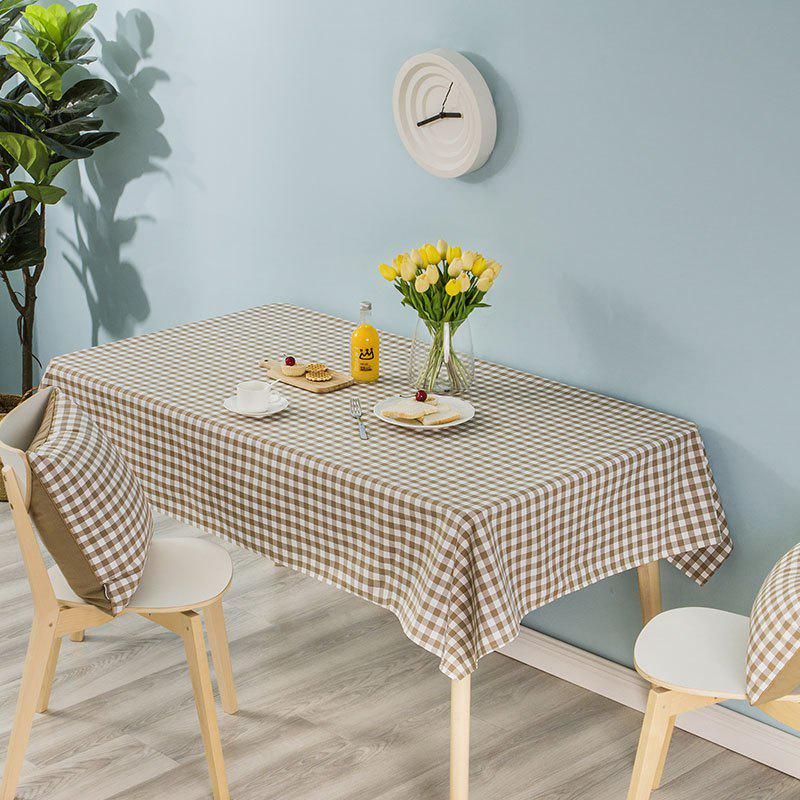 Hot Grid Series Coffee Color turned edge Table Cloth from Jinsehuanian