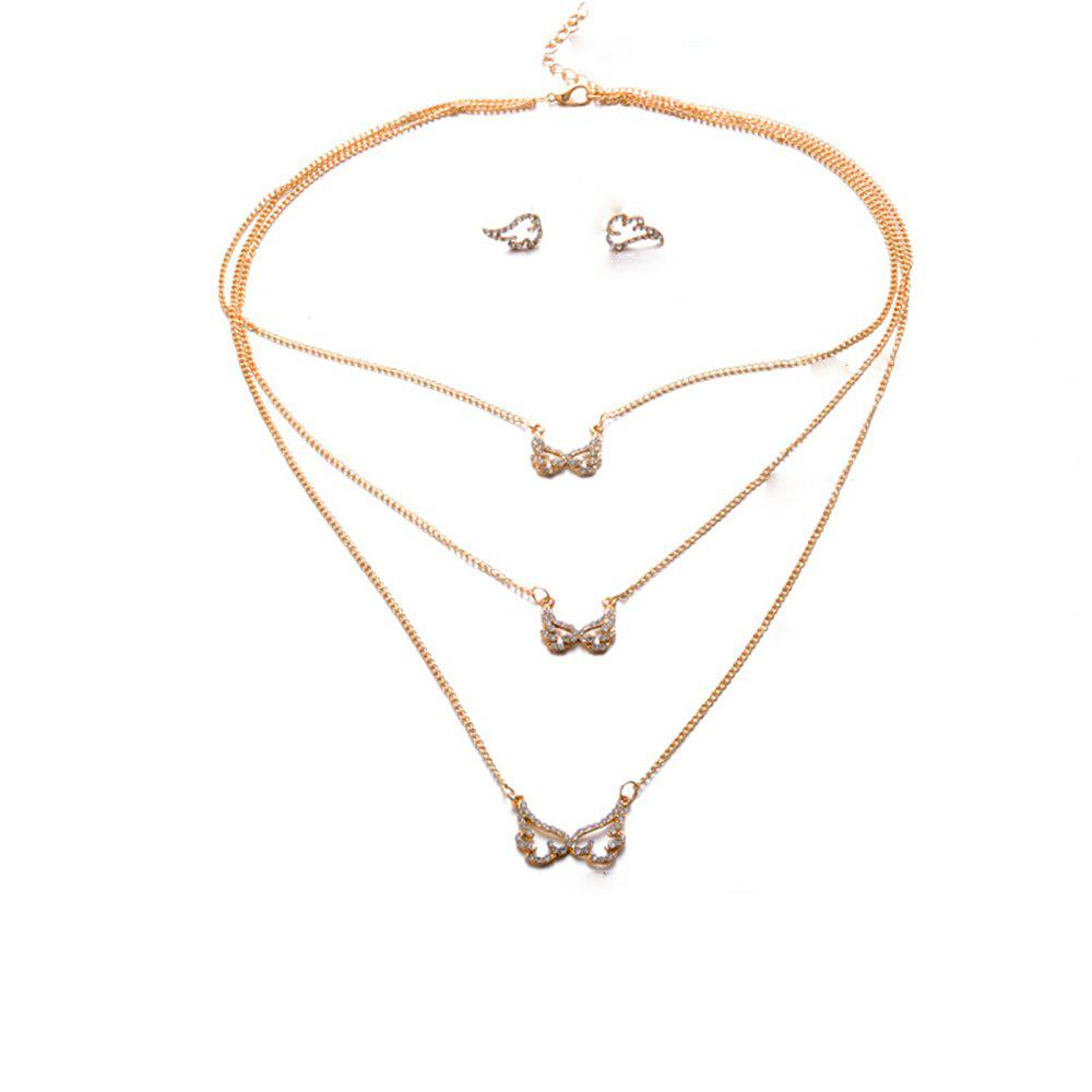 Hot Women'S Fashion Street Flapping Wing Earrings Necklace Set Ornaments