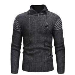 Men'S Zipper Hole Knitted Sweater XXL -