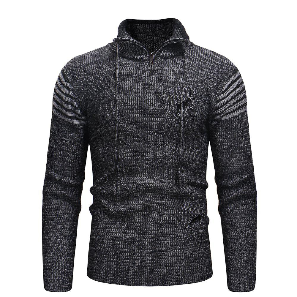 Outfits Men'S Zipper Hole Knitted Sweater XXL