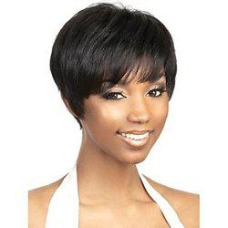 Short Capless Human Hair Black Color Wig for Women -
