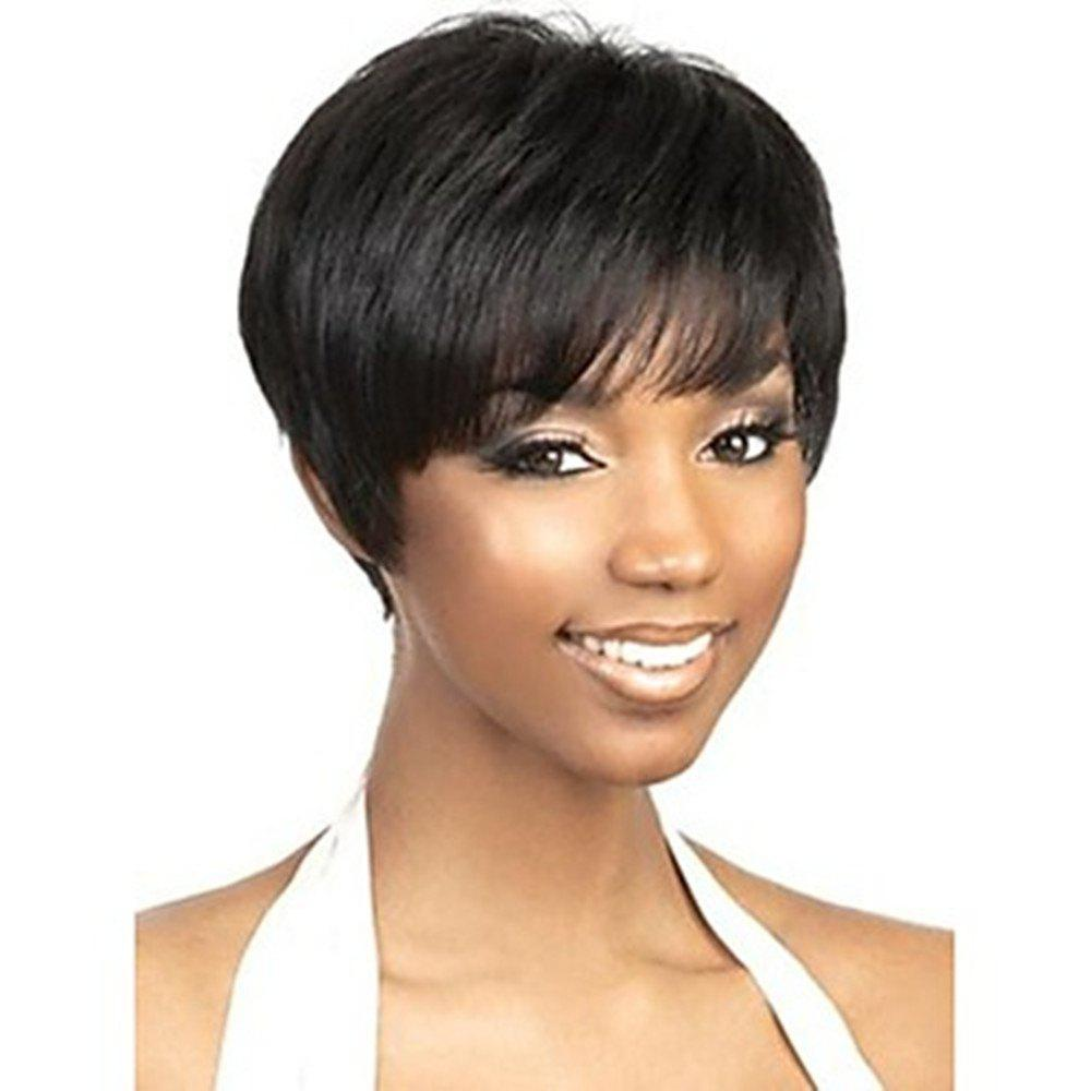 Chic Short Capless Human Hair Black Color Wig for Women