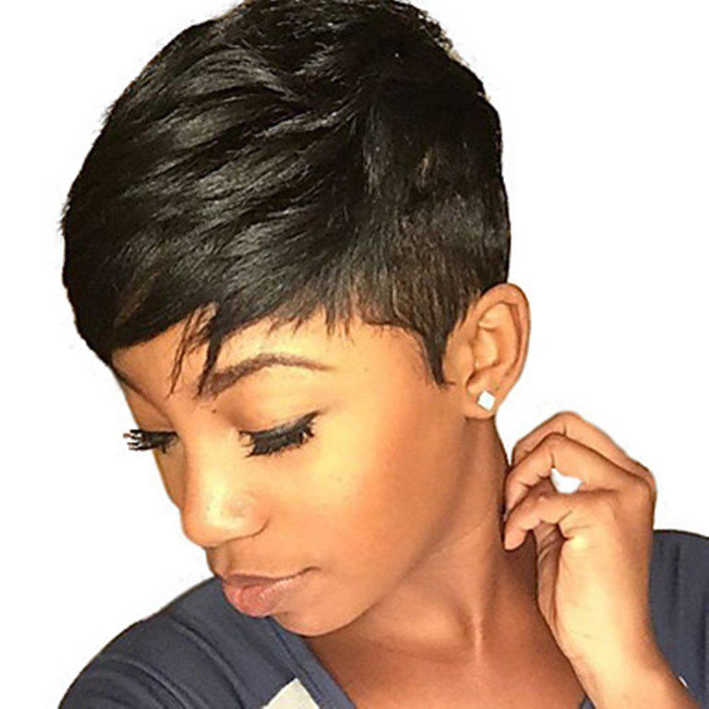 Online Short Haircut Black Color Human Hair Capless Wig for Ladies