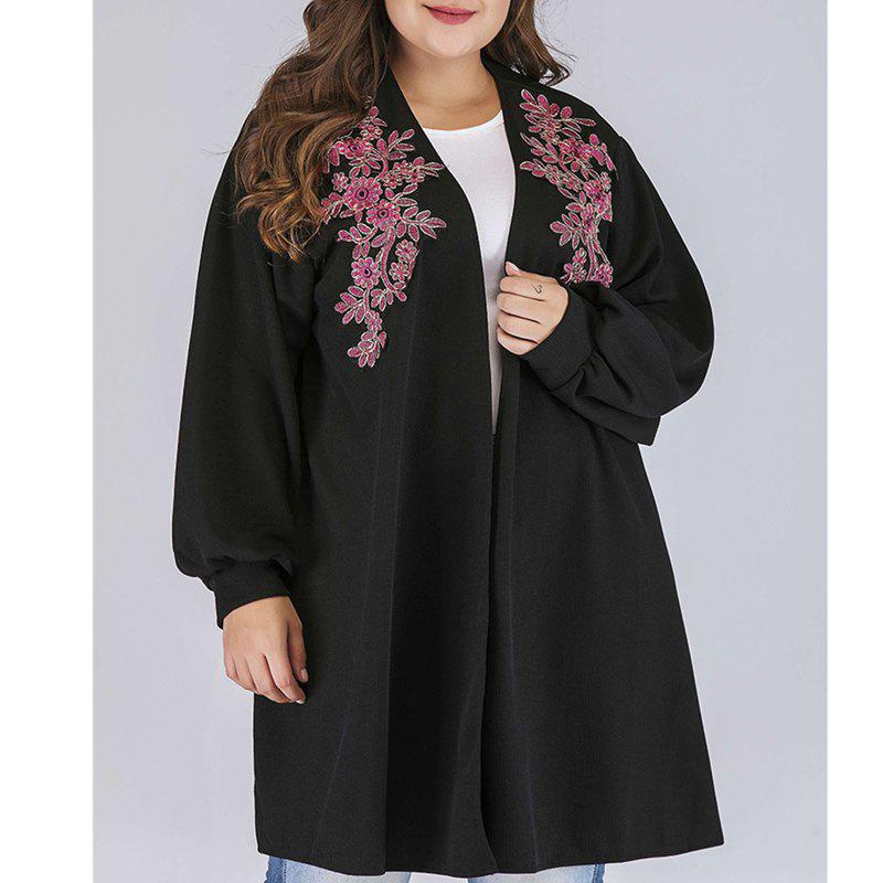 Chic Long Sleeve Cardigan Printing Long Embroider Windbreaker