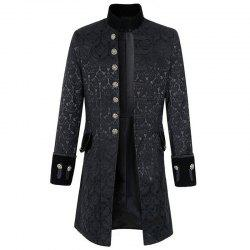 New Man Fashion Full Sleeve Stand Collar Vintage Solid Trench Coat -