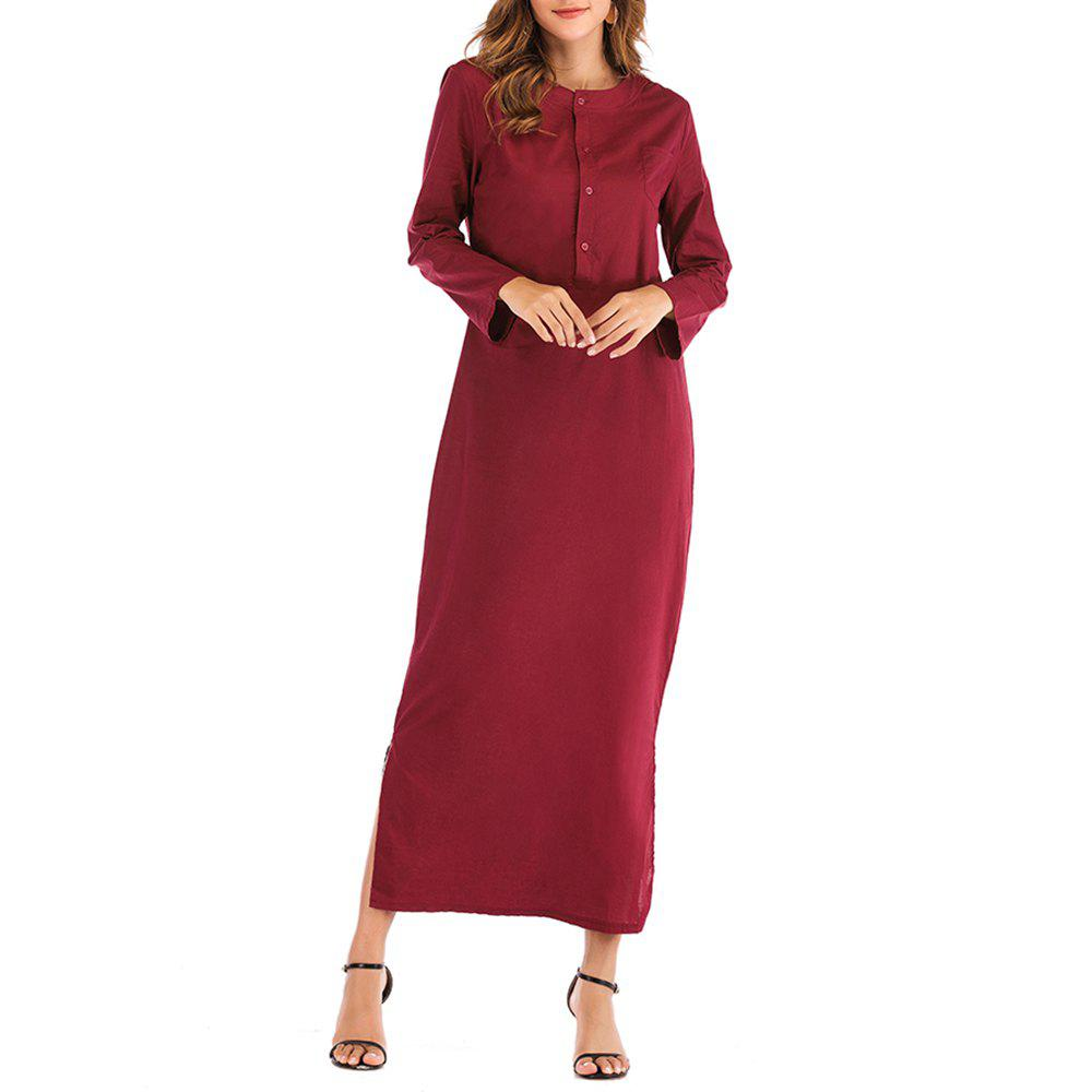 Trendy Long Stand Collar Solid Color Long Sleeve Vintage Chinese Dress