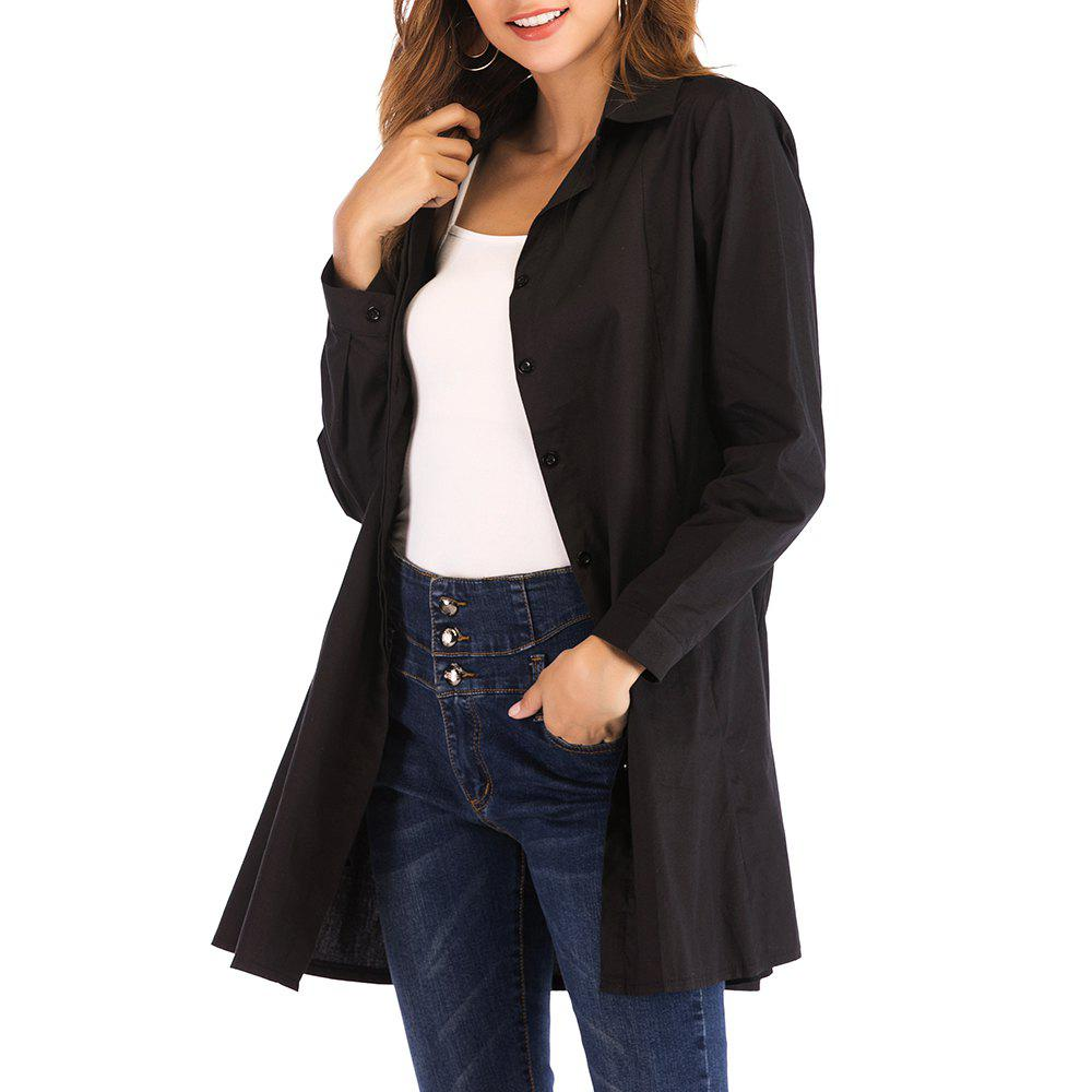 Outfit Ladies Temperament Commute Single-Breasted Black Long Casual Shirt
