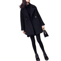 Black Loose Long Woolen Coat -