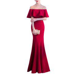 Long Fishtail Off Shoulder Evening Dress -