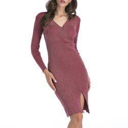 Long Deep V-Neck Sweater Dress -