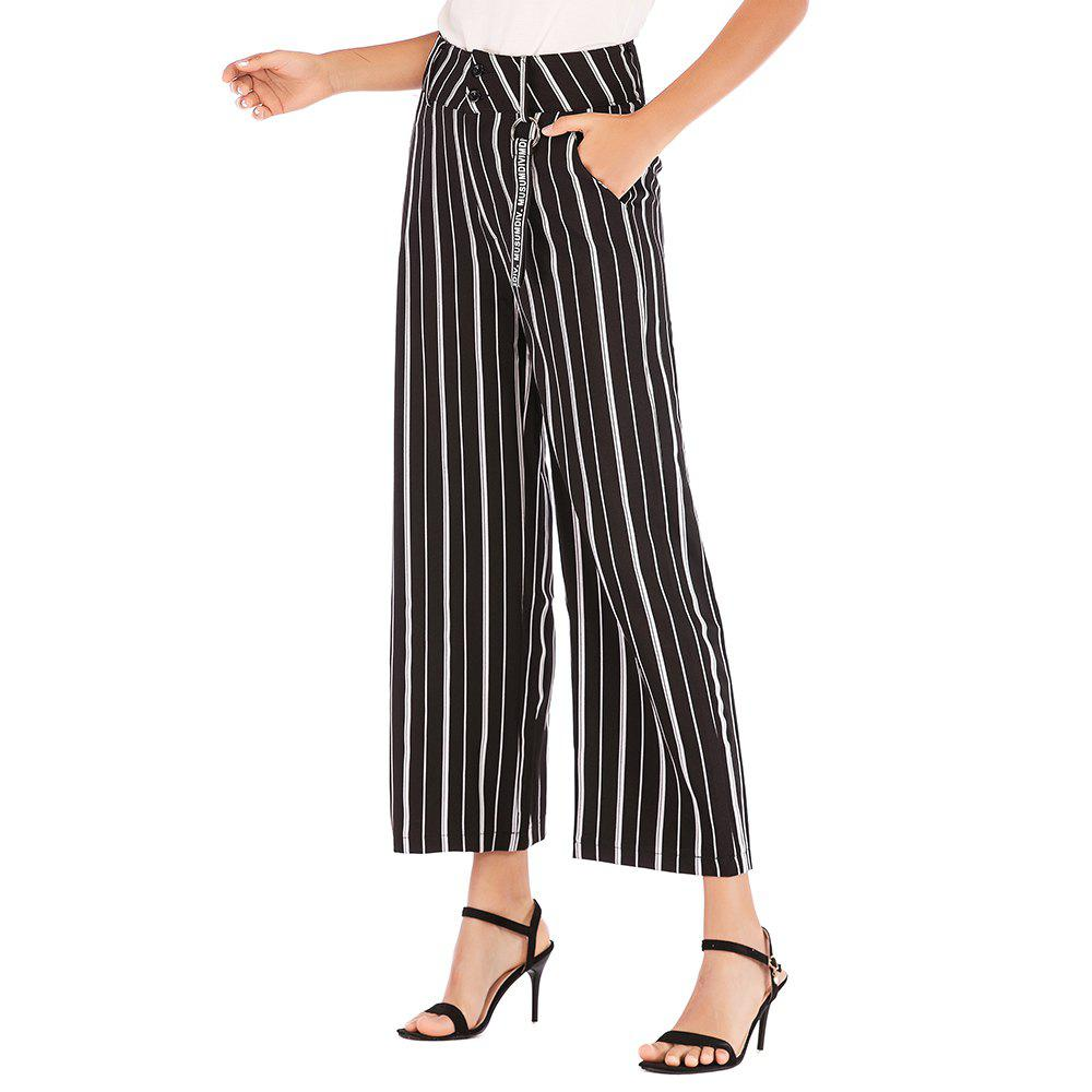 Latest European and American Striped Wide-Leg Pants Casual Pants Women