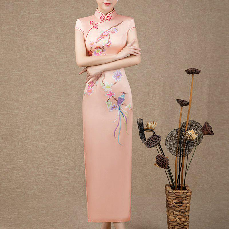 Fancy Chinese Aristocratic Style Fashion Slim Ladies Long Embroidered Cheongsam