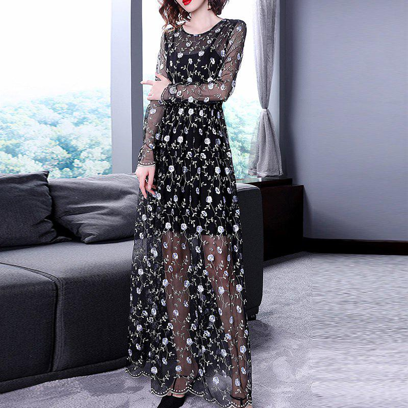 Outfits Sexy Translucent Trim Long Skirts Two Sets of Dresses