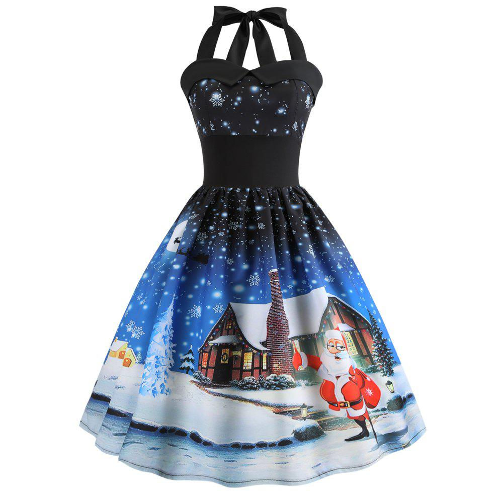 Store 2018 Christmas Print Panel Halter Dress