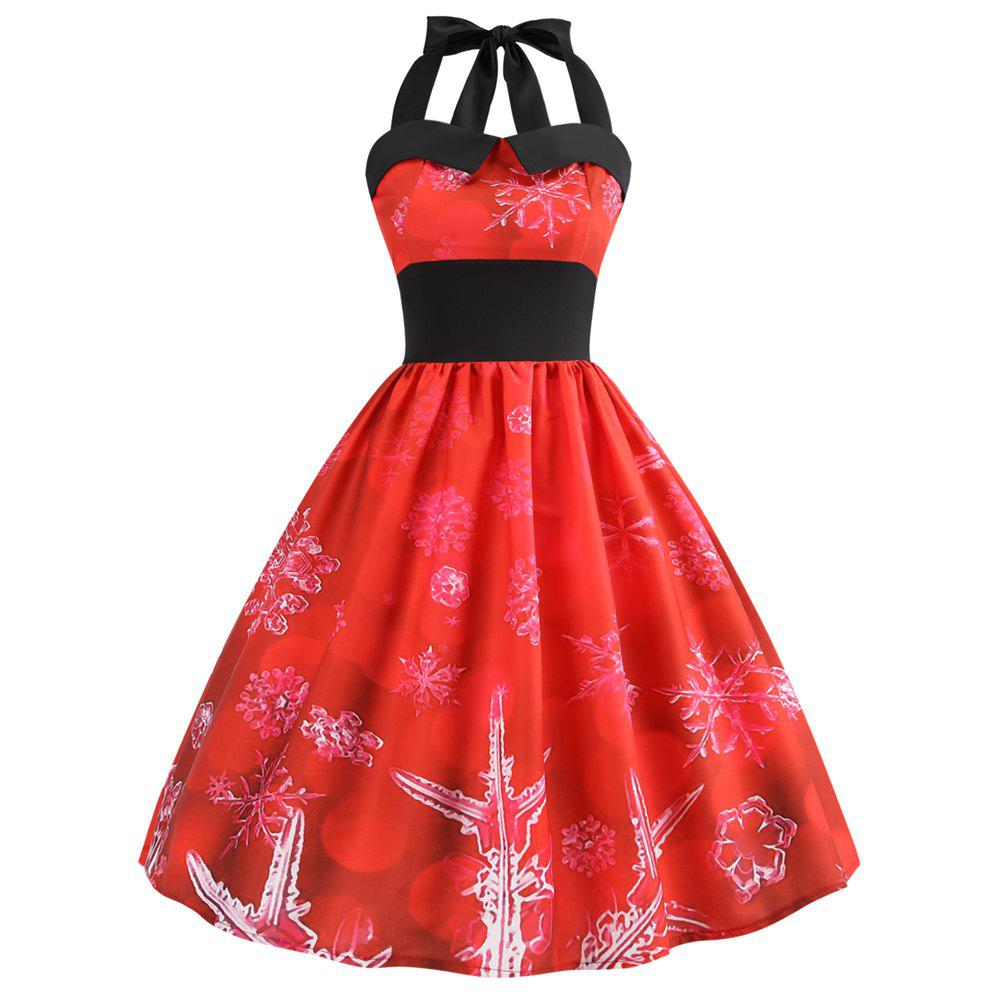 Sale 2018 Christmas Print Panel Halter Dress