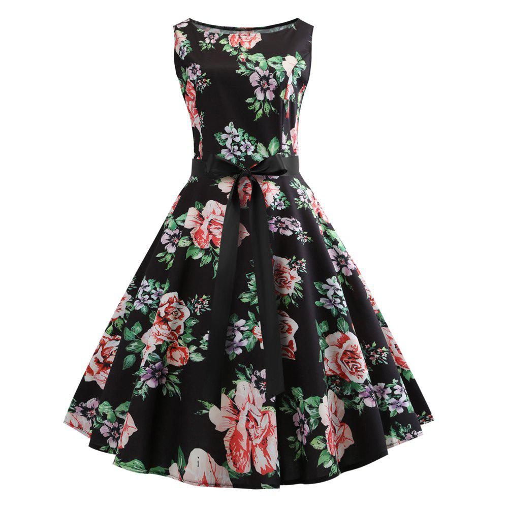 Latest 2018 Winter Print Waist and Floral Dress