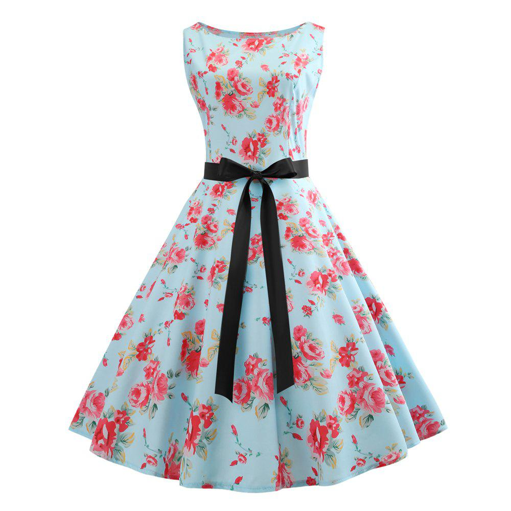 Trendy 2018 Winter Print Waist and Floral Dress
