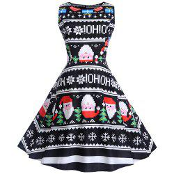 2018 Winter Print Waist and Christmas Sleeveless Dress -