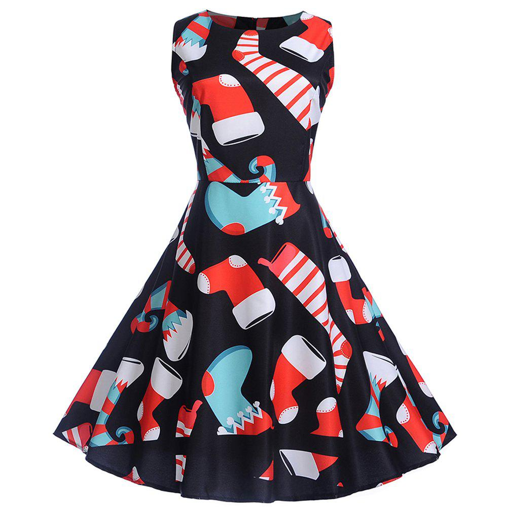 Discount 2018 Winter Print Waist and Christmas Sleeveless Dress