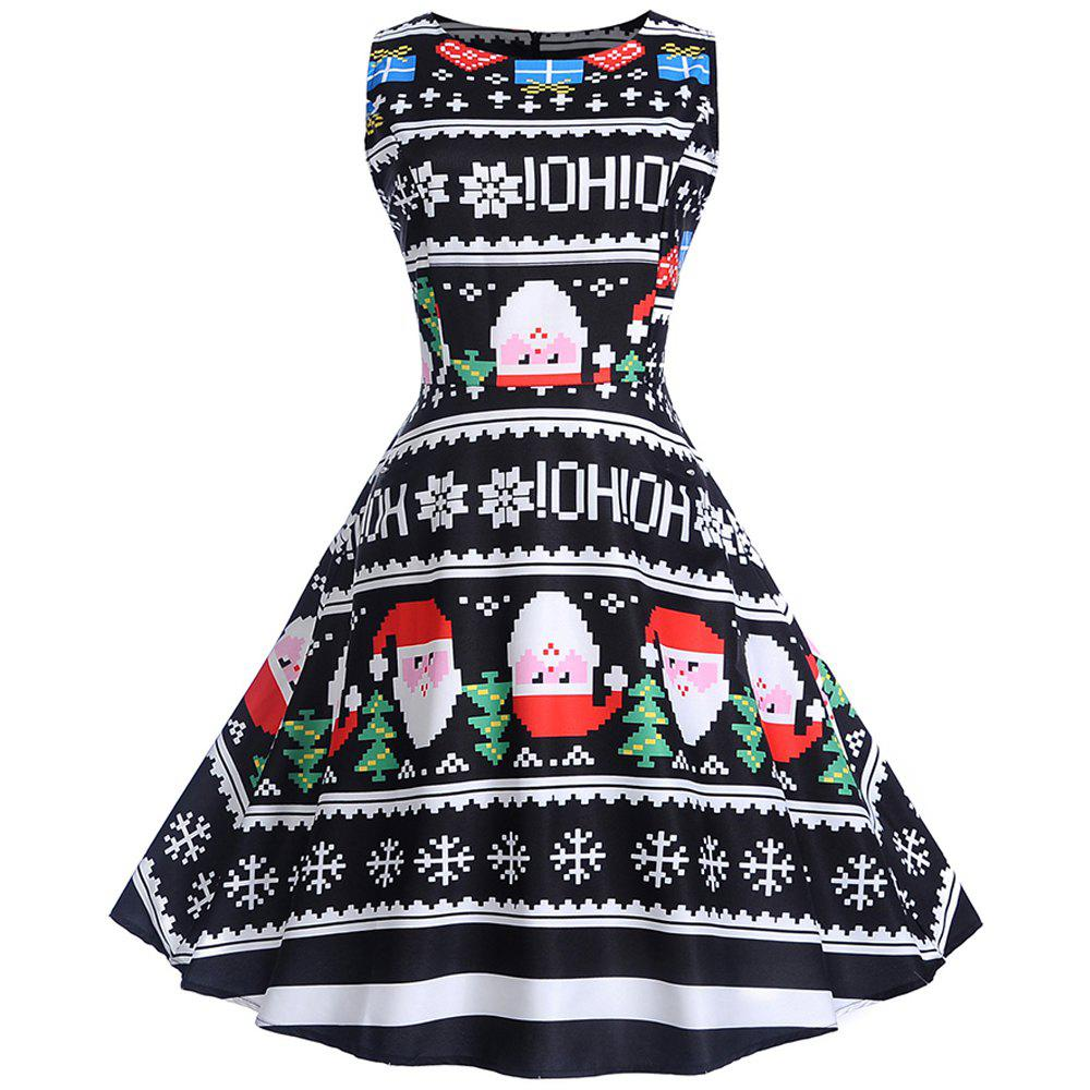 Best 2018 Winter Print Waist and Christmas Sleeveless Dress