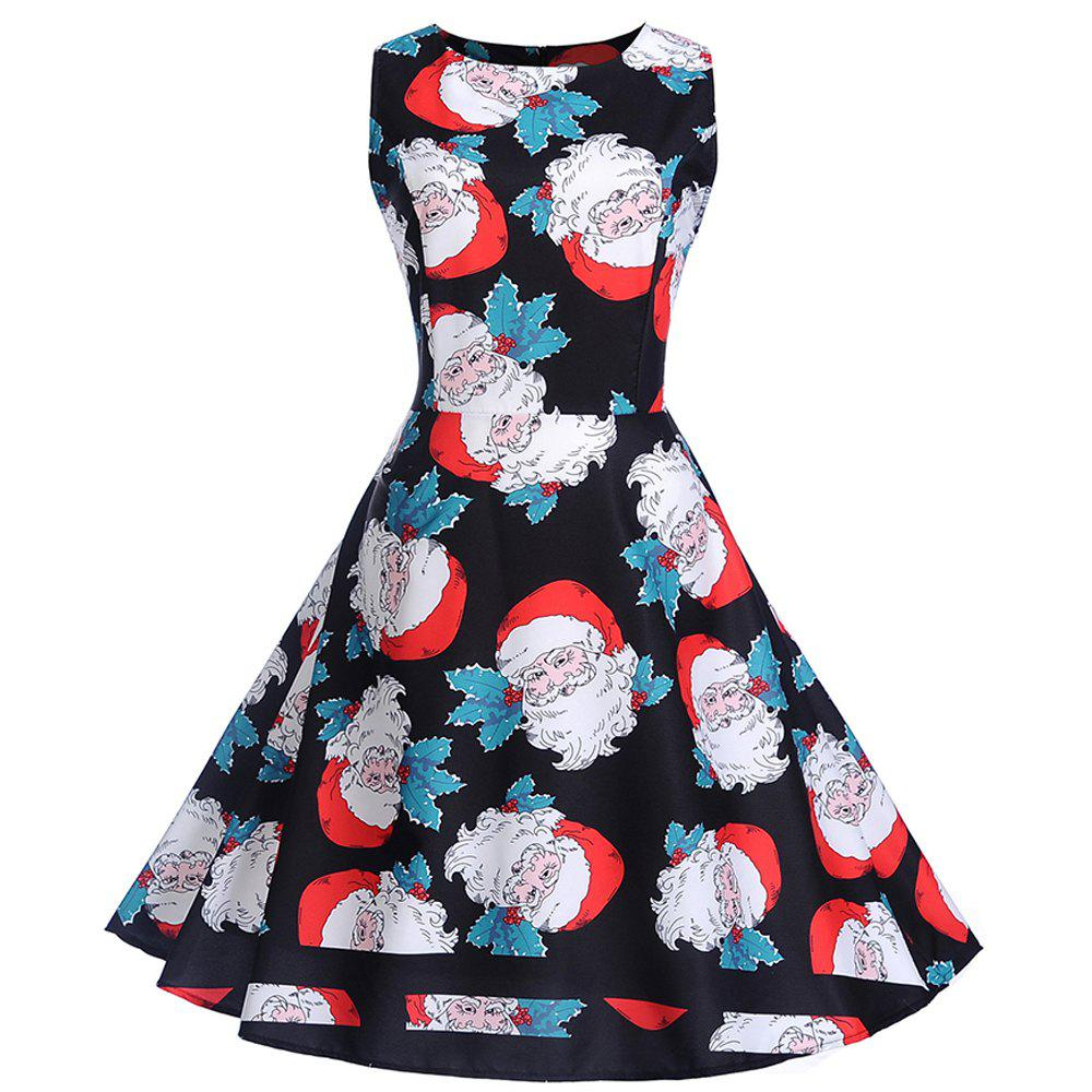 Fancy 2018 Winter Print Waist and Christmas Sleeveless Dress
