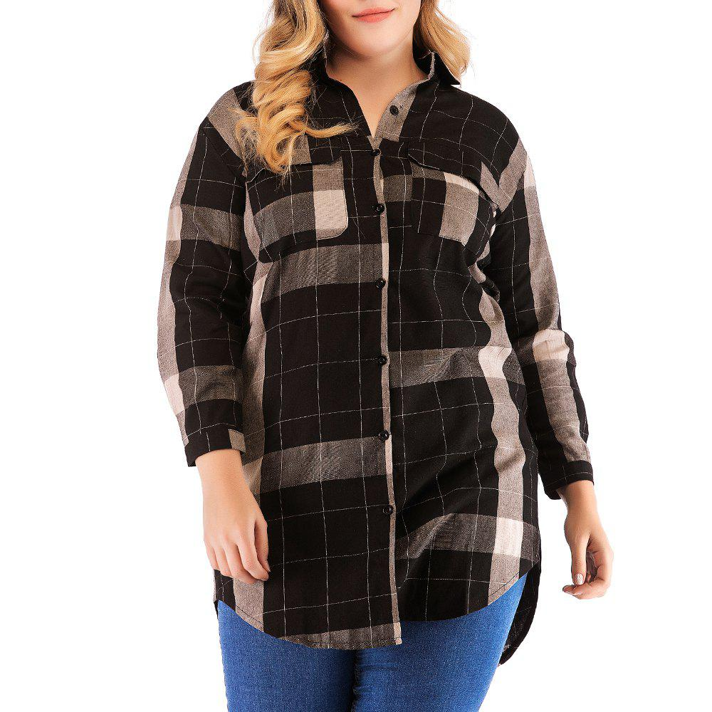 Sale Large Size Women's Cotton Long-Sleeved Plaid Long Casual Shirt