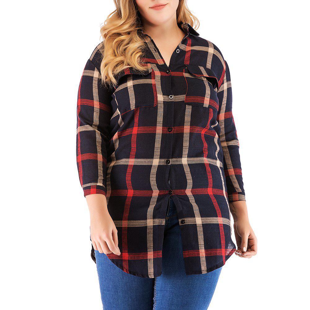 Best Large Size Women's Cotton Long-Sleeved Plaid Long Casual Shirt