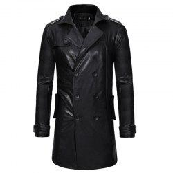 Double Breasted Collar Men's Leisure Wear Long Leather Coat -