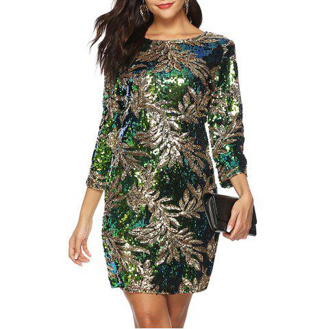 Round neck Floral Sequins 3/4 Length Sleeve Slim Bodycon Dress