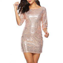 Women Sexy Backless Deep U Solid Color with Sequins Bodycon Slim Mini Club Dress -