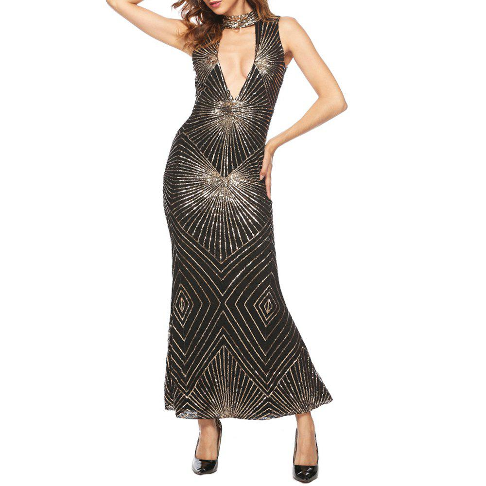 Online Sexy Crew Neck Cut Out Sequins Evening Party Club Bodycon Sleeveless Dress