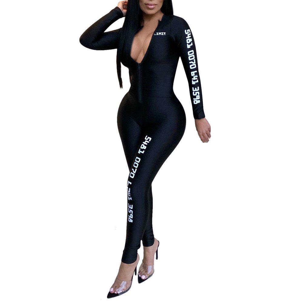 Best Fashion Sexy Solid Color with Letter Print Sports Tight Jumpsuits