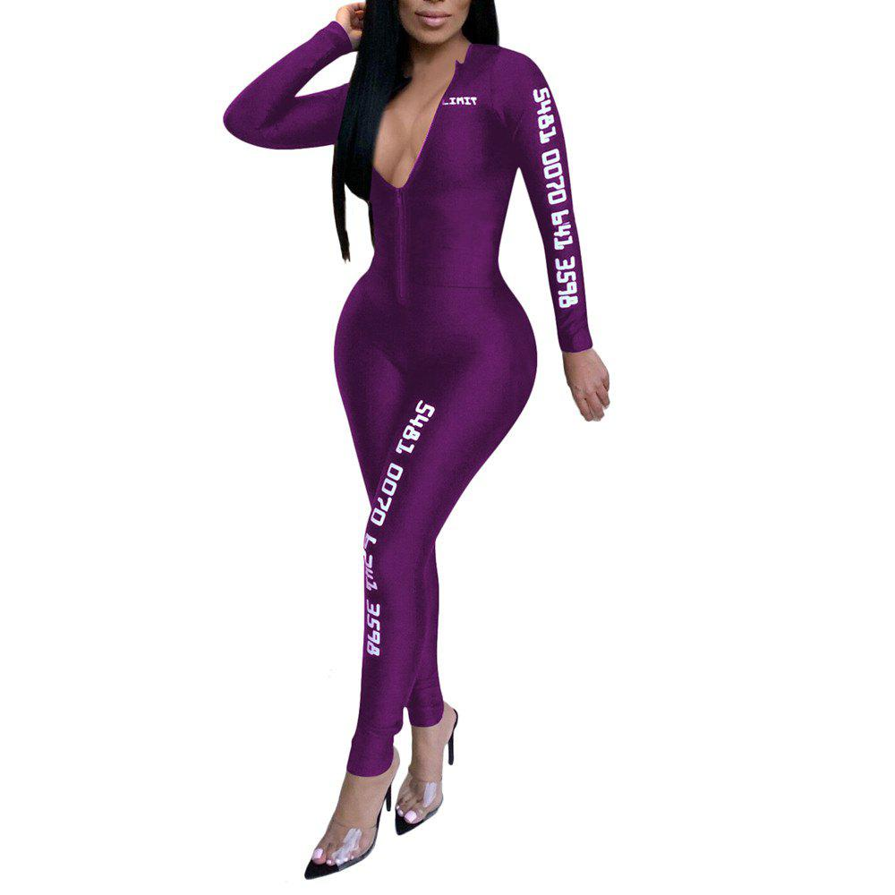 Shop Fashion Sexy Solid Color with Letter Print Sports Tight Jumpsuits