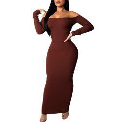 Boat Neck Off Shoulder Backless Cut Out Sexy Long Sleeve Bodycon Skinny Dress -