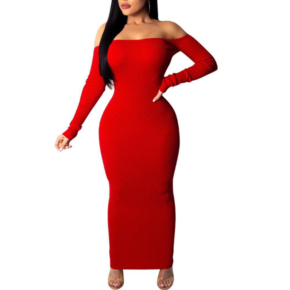 Latest Boat Neck Off Shoulder Backless Cut Out Sexy Long Sleeve Bodycon Skinny Dress