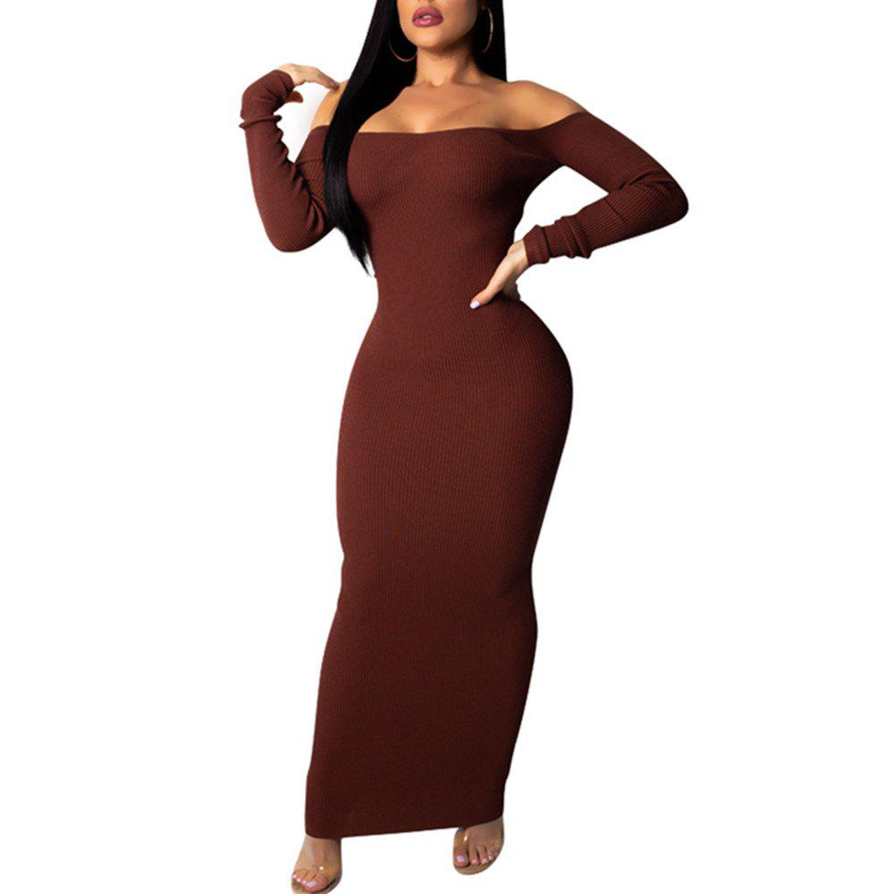 8e188ef264e1 Boat Neck Off Shoulder Backless Cut Out Sexy Long Sleeve Bodycon Skinny  Dress - L