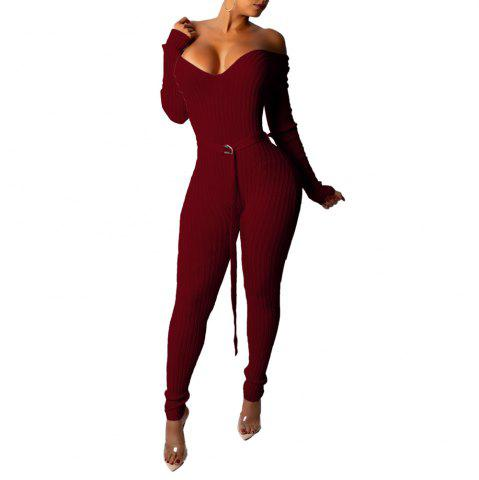 Women's Sexy Deep V Off Shoulder Solid Color Skinny Tight Jumpsuit Pencil Pants