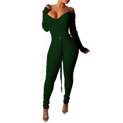 Women's Sexy Deep V Off Shoulder Solid Color Skinny Tight Jumpsuit Pencil Pants -