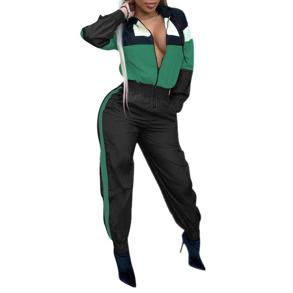 Sale Women's Color Block Hooded Fashion Long Sleeve Overalls Jumpsuits