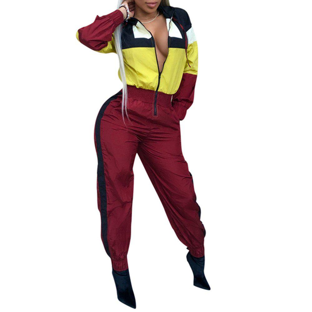 Hot Women's Color Block Hooded Fashion Long Sleeve Overalls Jumpsuits