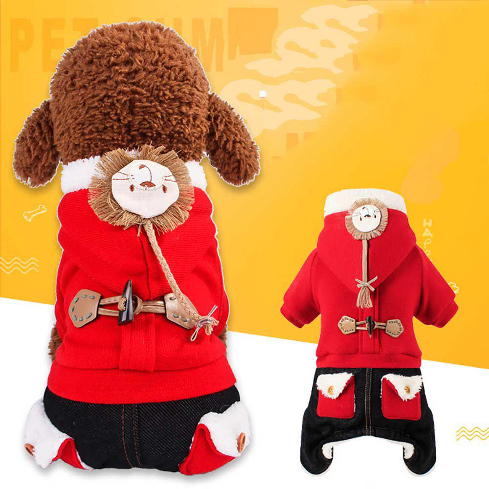 Unique Fashionable Pet Winter Style Four Feet Brushed Thicken The Lion'S Costume