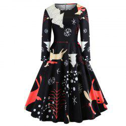 The Dress Is A Christmas Dress with Deer on It -