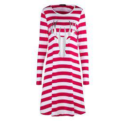 New Christmas Stripe Long Sleeve Dress with Round Neck -