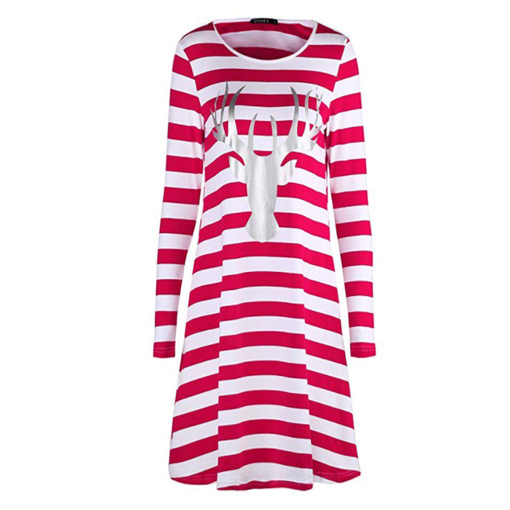 Chic New Christmas Stripe Long Sleeve Dress with Round Neck
