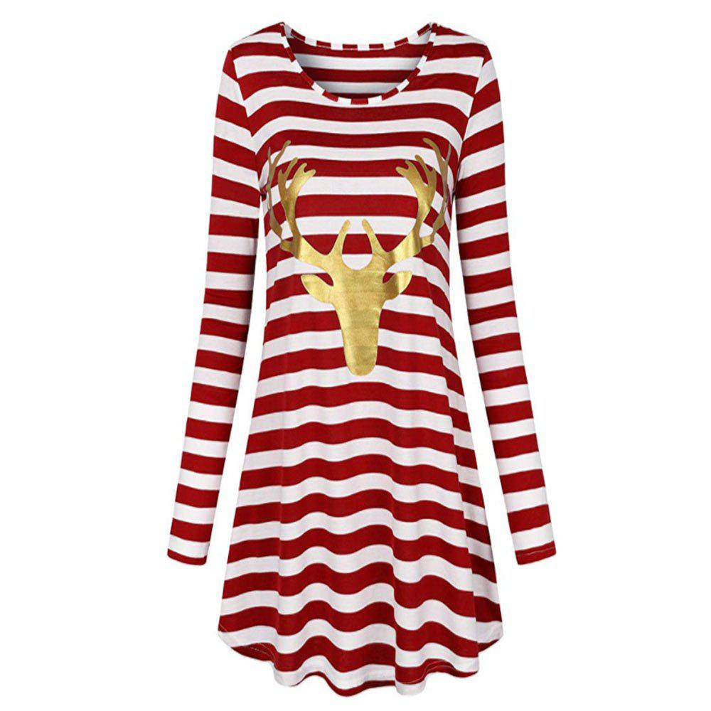 Shops New Christmas Stripe Long Sleeve Dress with Round Neck