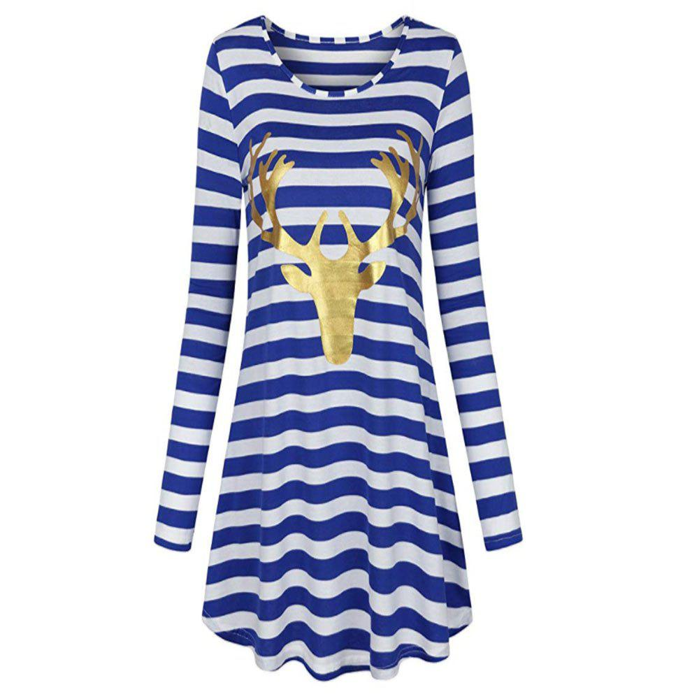 Trendy New Christmas Stripe Long Sleeve Dress with Round Neck