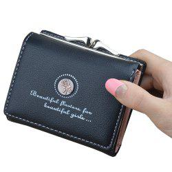 Women'S Solid Color Mini Wallet Printed Letter Short Wallet -
